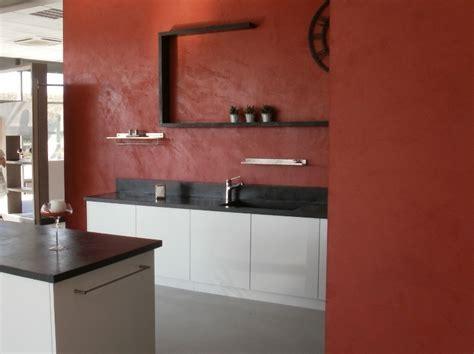 beton cuisine îlot central en béton ciré espace cuisine arcane