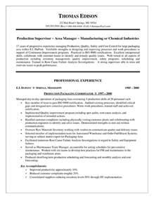 food production manager resume exle production supervisor resume exle