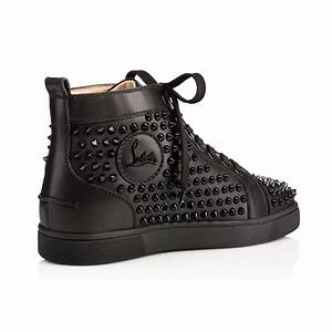 Promotions Christian Louboutin Louis Spikes Flat Leather Store  Black Mens Fashion Shoes ...