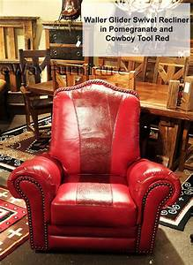Red Top Grain Leather Glider Swivel Recliner