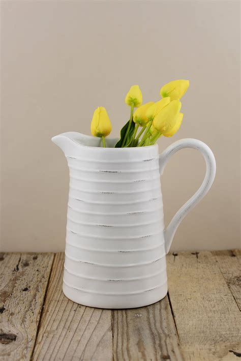 White Pitcher 8.5in