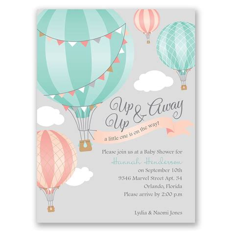 for baby shower up up away petite baby shower invitation invitations by dawn