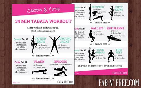 Free Printable Cardio Core Tabata Workout