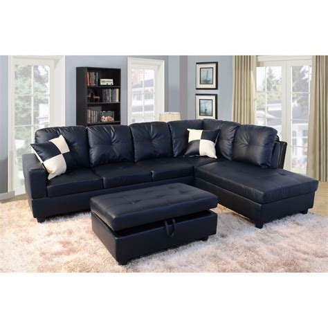 Chaise And Ottoman by 3pc New Sectional Sofa Microfiber Faux Leather Set W