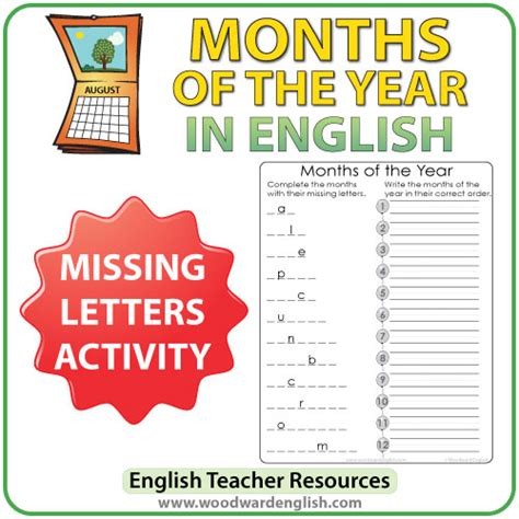 English Months  Missing Letters  Woodward English