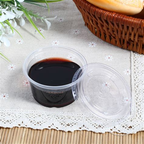 objet d馗o cuisine 50pcs disposable plastic clear chutney cup food container storage box with lid o ebay