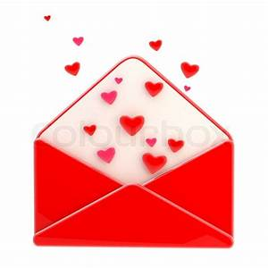 Love Letter Emblem As A Red Envelope With Heart Inside