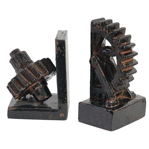 decorative bookends jj 10 13 a b home 5 in x 7 in decorative gear bookends 2 pack 69498 the home depot