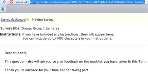 Email Questionnaire Template by Surveys Camtools Of Cambridge Camtools