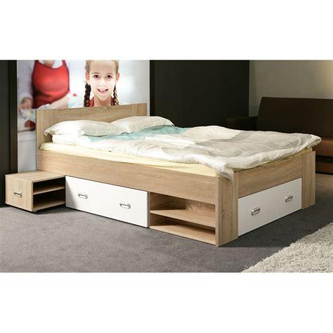 bureau blanc avec tiroir lit deux places avec rangement
