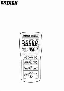 Extech Instruments Ea15 Thermometer Operation  U0026 User U2019s