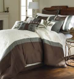 8 piece embroidered comforter set brown and white