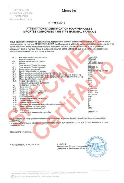 certificat de conformite europeen mercedes