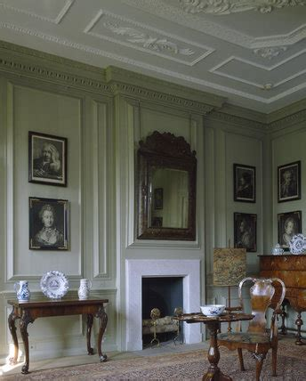 corner   green room showing  bolection panelling