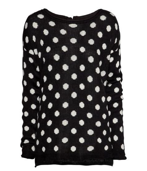 polka dot sweater h m conscious trend collection wool black white polka dot