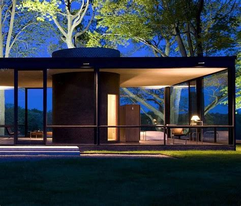 philip johnson glass house  night  canaan ct