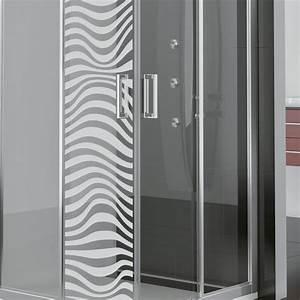 stickers muraux pour portes de douche illusion optique With porte de douche coulissante avec stickers pour carreaux salle de bain