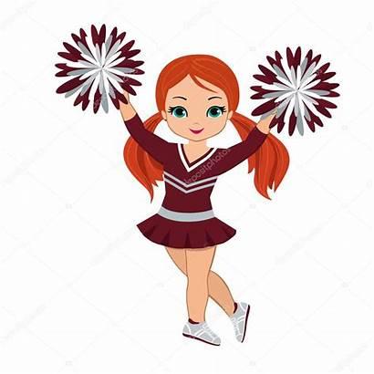 Pom Cheerleader Poms Maroon Silver Vector Uniform