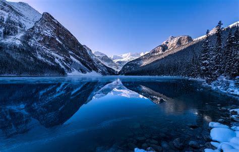 wallpaper forest mountain canada alberta lake louise