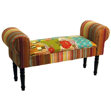 chaise cagne chic patchwork shabby chic chaise pouffe padded stool wood