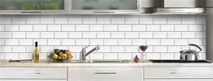 credence cuisine verre decor carrelage metro blanc With credence cuisine imitation carrelage