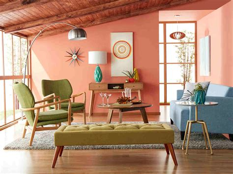 living room mid century colorful modern bright furnishings decor pastel colored donpedrobrooklyn source
