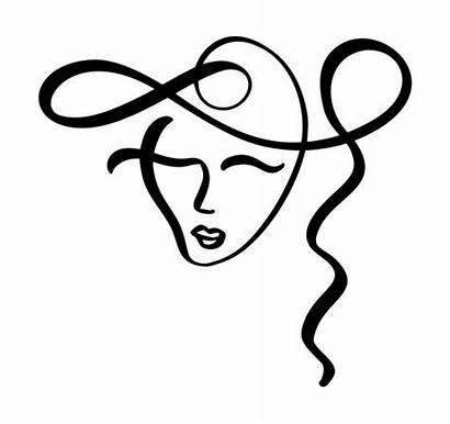 Line Face Drawing Donna Stilizzata Continua Continuous