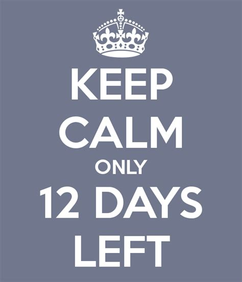 Keep Calm Only 12 Days Left Poster  Carly  Keep Calmomatic