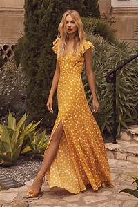 Lovely Mustard Yellow Floral Print Dress Floral Maxi Dress