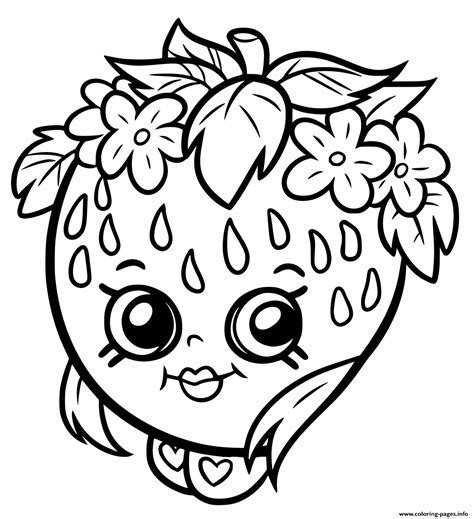 Print shopkins strawberry smile coloring pages School