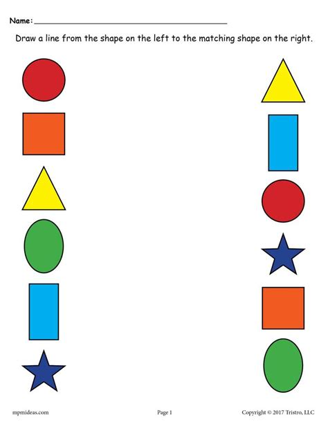 6 free shapes matching worksheets for preschool amp toddlers 704 | Match 20the 20shapes1 1024x1024