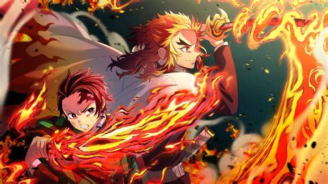 tanjiro  kyojuro rengoku flames katana