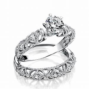 925 silver vintage 75ct round cz engagement wedding ring set for Vintage wedding ring settings