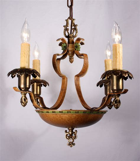fabulous antique five light iron bronze chandelier with