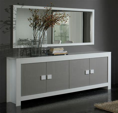 livraison cuisine bahut 4 portes pisa laquée bicolore blanc gris blanc gris