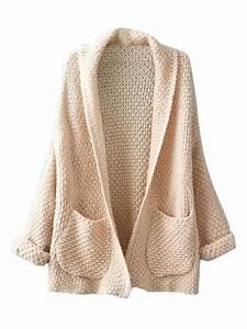 Beige Lapel Pocket Detail Open Front Long Sleeve Knit