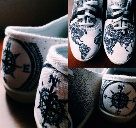 Shoes With Sharpie! World, Compass, Map, Continents