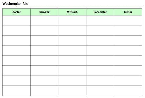 Wochenplan Haushalt Vorlage by Wochenplan Vorlage Kostenlos Herunterladen Ausdrucken