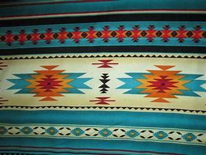 Navajo Native American Teal Gold Border Print Cotton ...