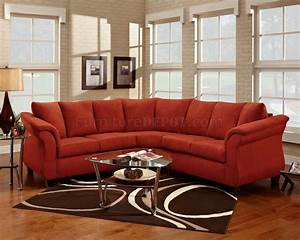 Red fabric elegant modern sectional sofa for Modern red fabric sectional sofa