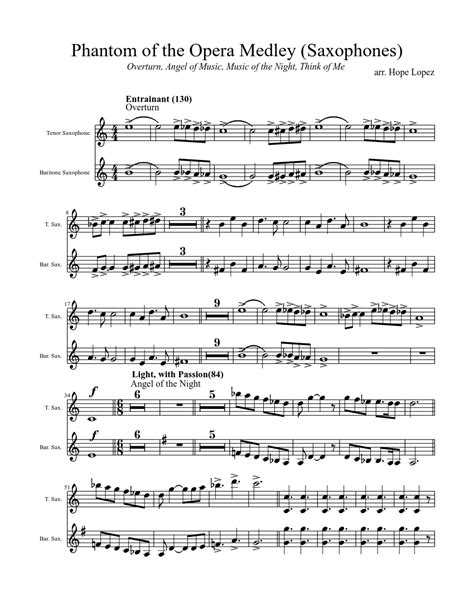 sheet music made by hope lopez for 2 parts tenor
