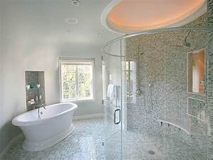 Transitional, Bathroom, With, Unique, Round, Glass, Shower, Door