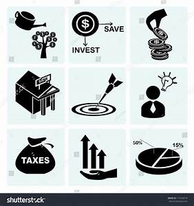 Flow Chart Signs And Symbols Investment Icon Set Asset Management Stock Vector