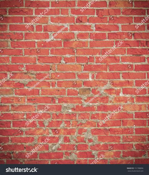 Grunge Perfectly Tiled Red Brick Wall Background Stock