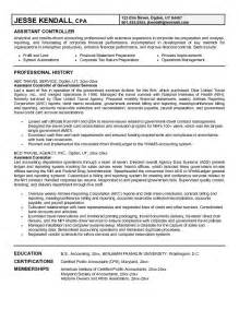 finance assistant resume objective exle assistant controller resume free sle
