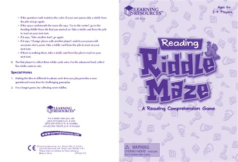 riddle maze ler  manuals users guides