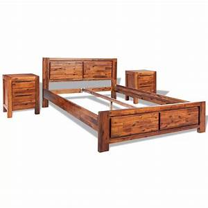 Acheter vidaxl cadre de lit avec armoires acacia massif for Cadre de lit marron