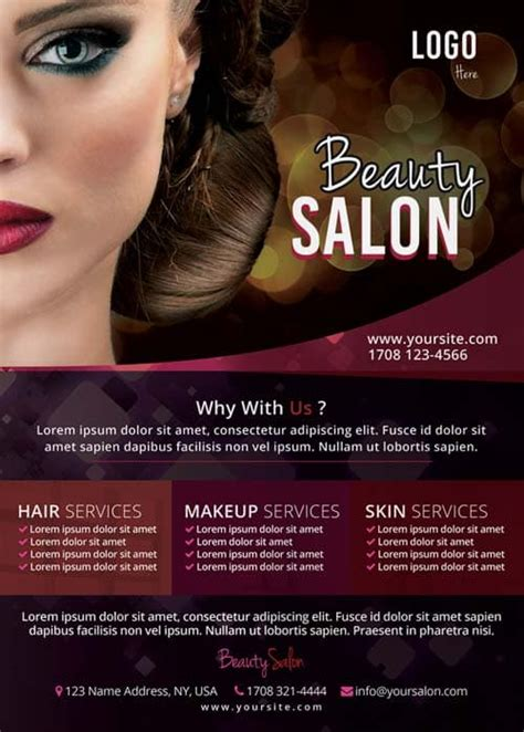 beauty salon flyer template  photoshop