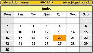 Calendário Mensal Junho de 2019 Imprimir Mês de Junho2019