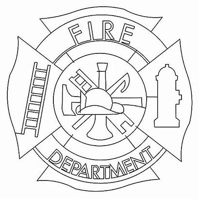 Coloring Firefighter Fire Fireman Pages Maltese Hat